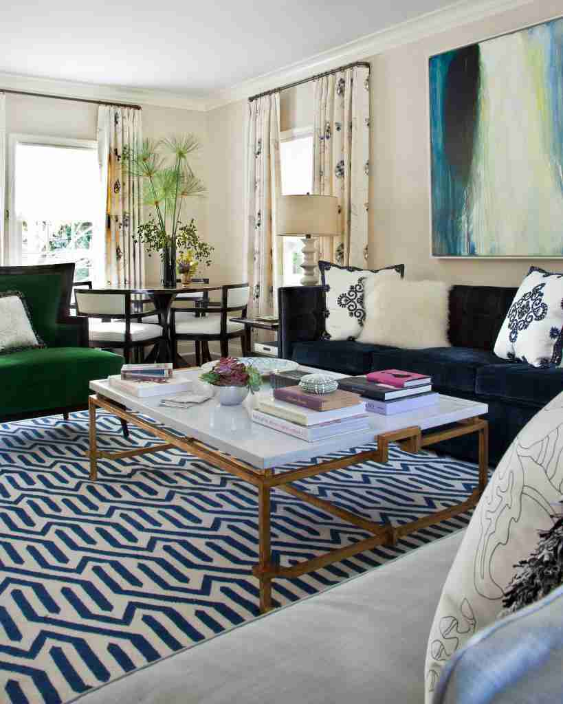 navy blue and gold interior living room